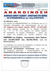 ΑΝΣ 09 040418 ΚΛΗΡΩΣΗ ΛΑΙΚΟΥ ΛΑΧΕΙΟΥ ΣΕΡΒΙΑ